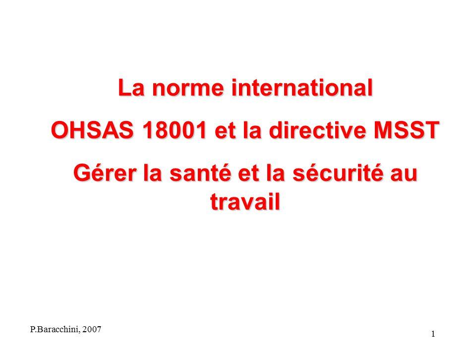 La norme international OHSAS 18001 et la directive MSST