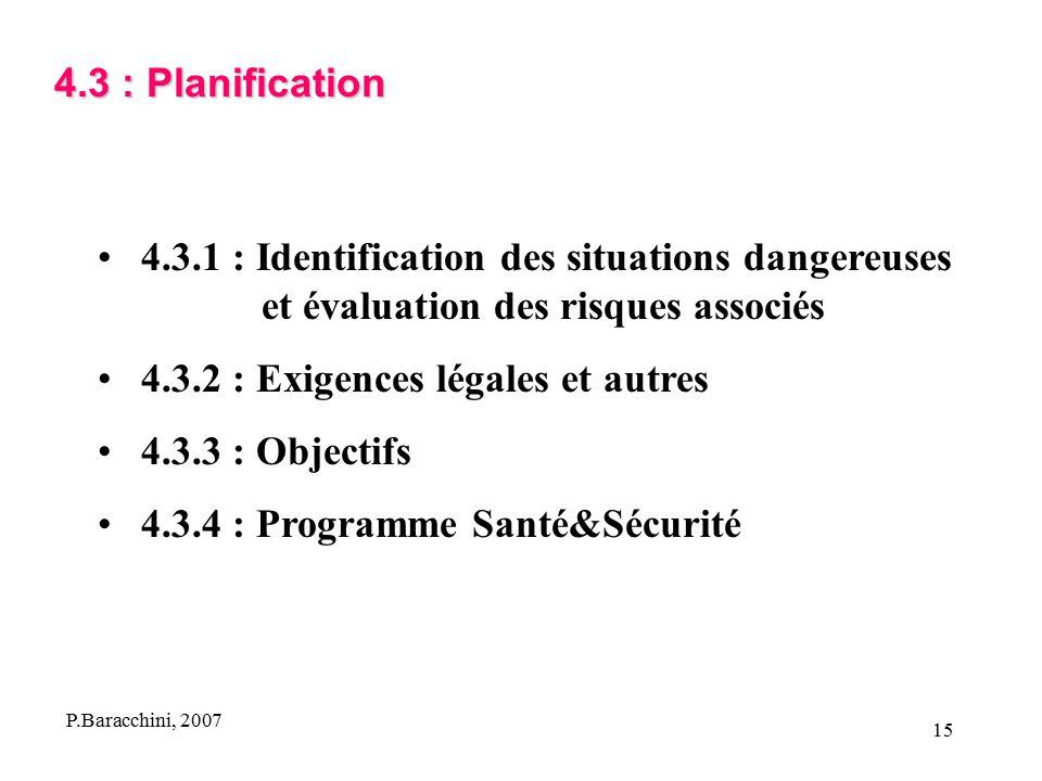 4.3.2 : Exigences légales et autres 4.3.3 : Objectifs