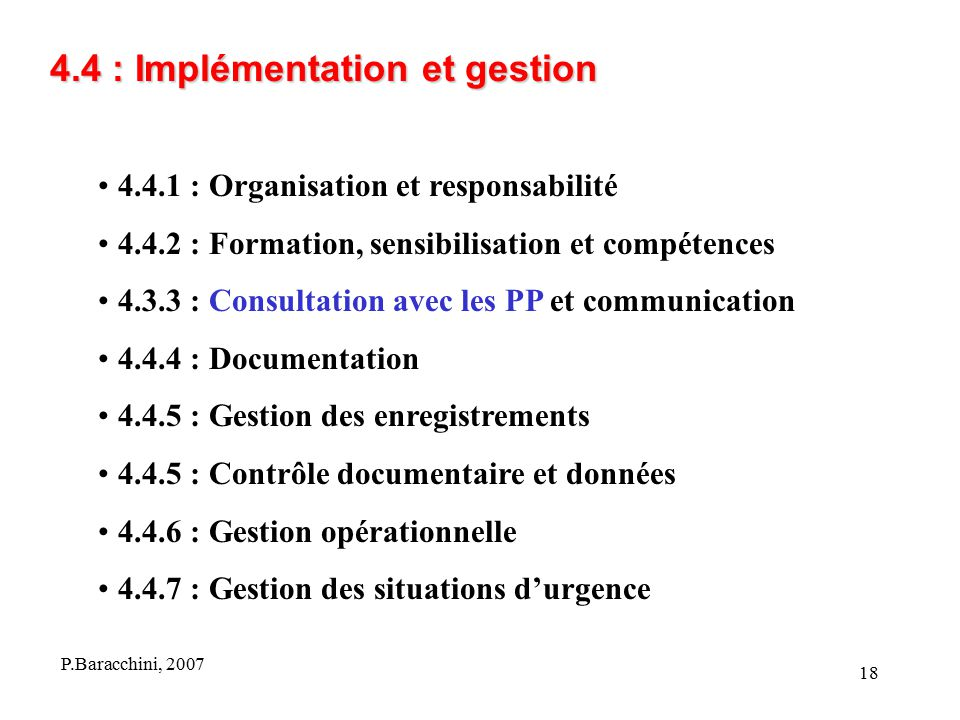 4.4 : Implémentation et gestion