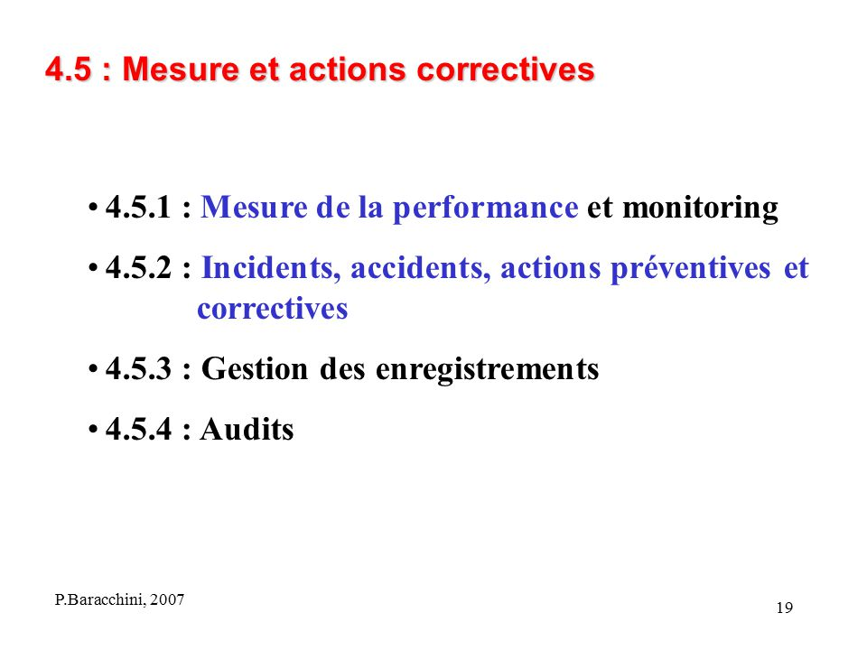 4.5 : Mesure et actions correctives