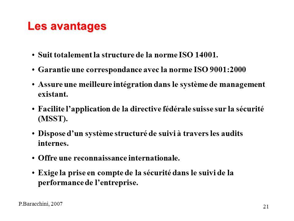 Les avantages Suit totalement la structure de la norme ISO 14001.
