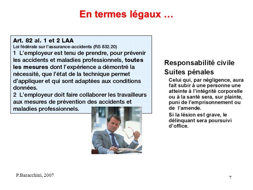 En termes légaux … P.Baracchini, 2007