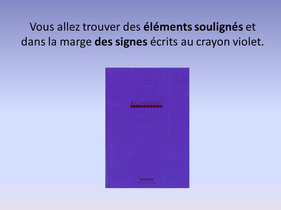 Vous allez trouver des éléments soulignés et dans la marge des signes écrits au crayon violet.