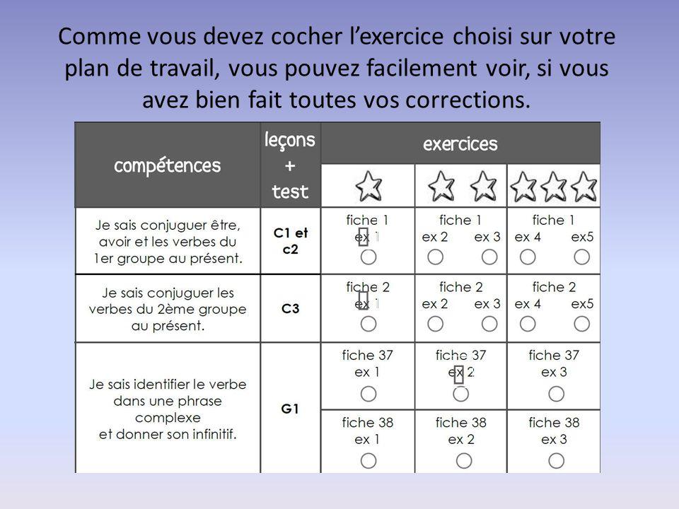 Comme vous devez cocher l'exercice choisi sur votre plan de travail, vous pouvez facilement voir, si vous avez bien fait toutes vos corrections.