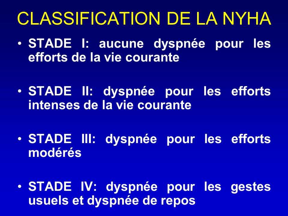 CLASSIFICATION DE LA NYHA