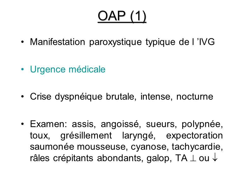 OAP (1) Manifestation paroxystique typique de l 'IVG Urgence médicale