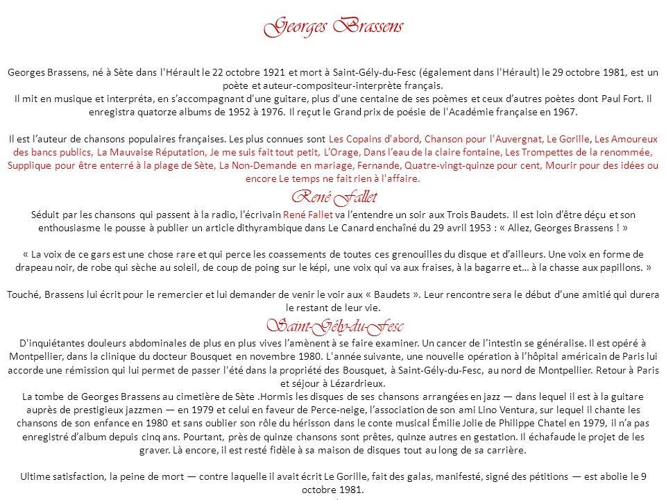 Georges brassens une jolie fleur par nanou et stan ppt - Salon de la chasse saint gely du fesc ...