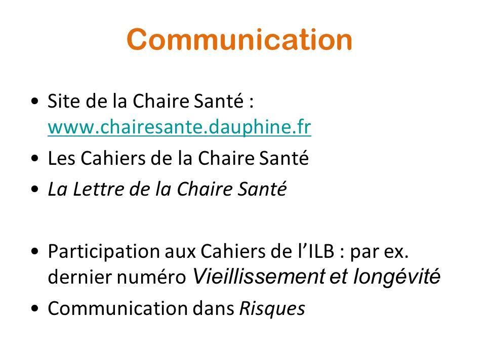 Communication Site de la Chaire Santé : www.chairesante.dauphine.fr
