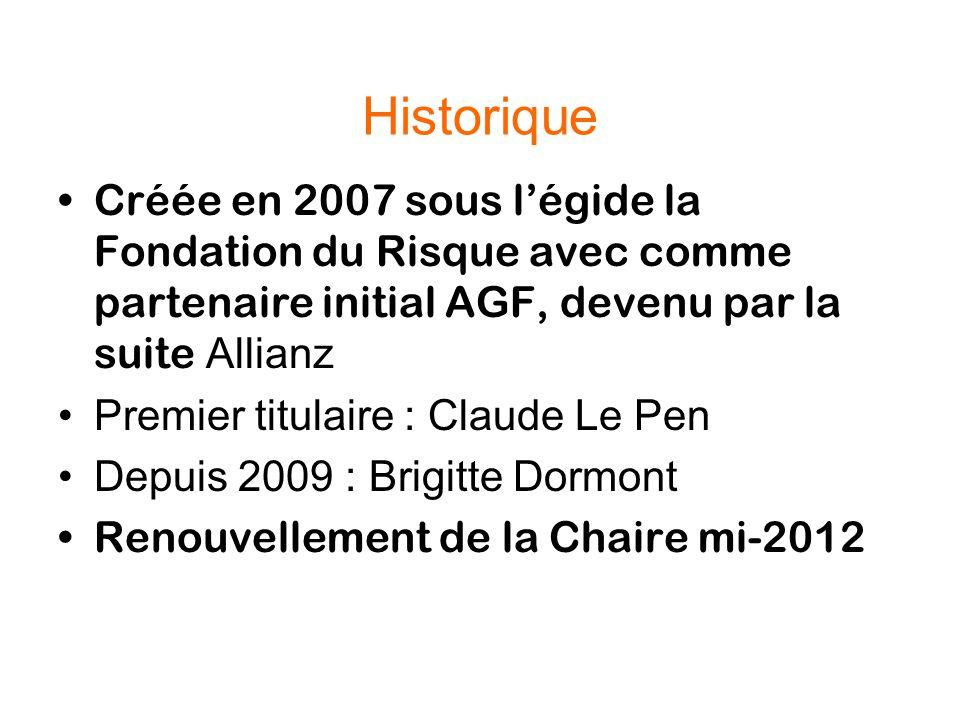 Historique Créée en 2007 sous l'égide la Fondation du Risque avec comme partenaire initial AGF, devenu par la suite Allianz.