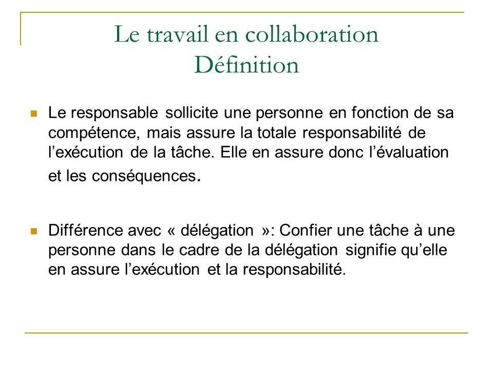 Le travail en collaboration Définition