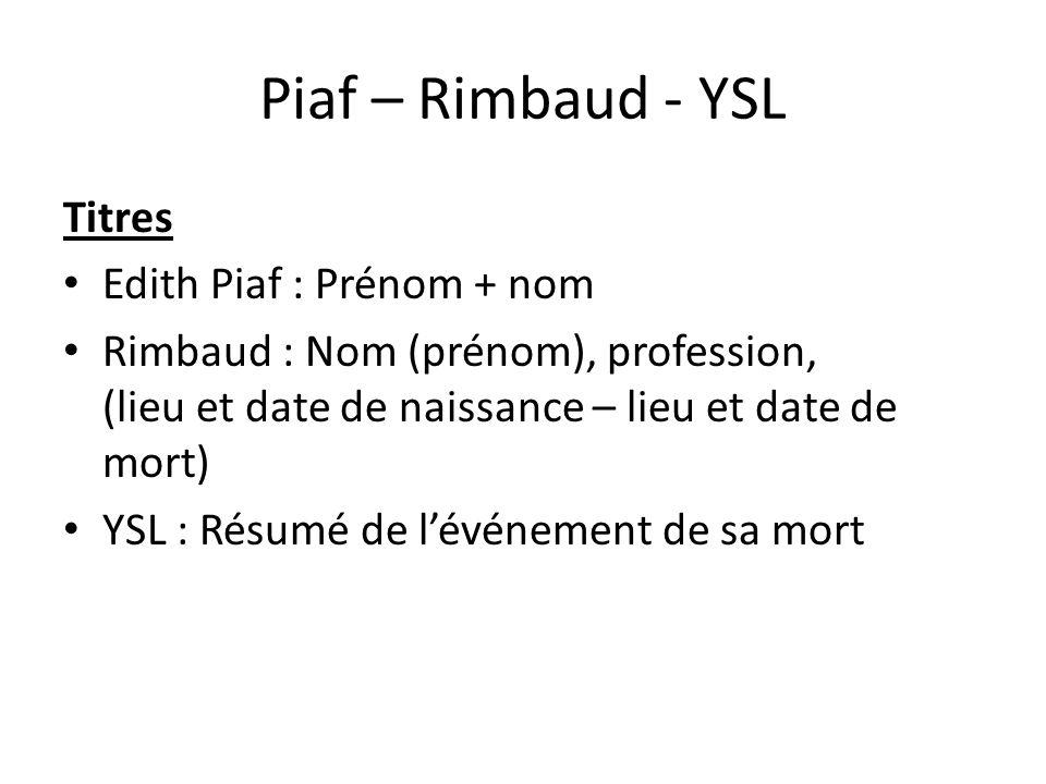 piaf  u2013 rimbaud - ysl titres edith piaf   pr u00e9nom   nom