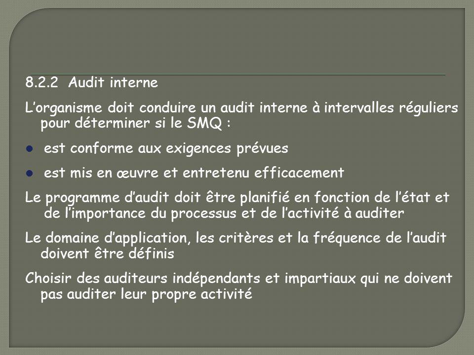 8.2.2 Audit interne L'organisme doit conduire un audit interne à intervalles réguliers pour déterminer si le SMQ :
