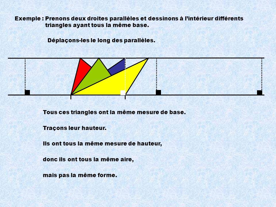 Exemple : Prenons deux droites parallèles et dessinons à l'intérieur différents triangles ayant tous la même base.