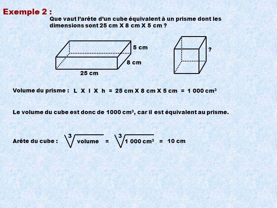 Exemple 2 : Que vaut l'arête d'un cube équivalent à un prisme dont les dimensions sont 25 cm X 8 cm X 5 cm