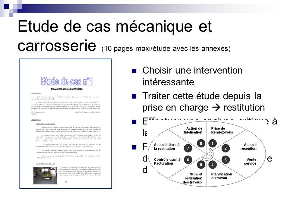 Etude de cas mécanique et carrosserie (10 pages maxi/étude avec les annexes)