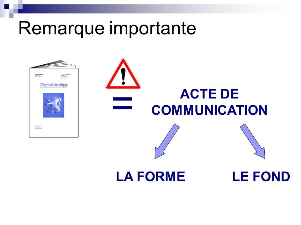 Remarque importante = ACTE DE COMMUNICATION LA FORME LE FOND