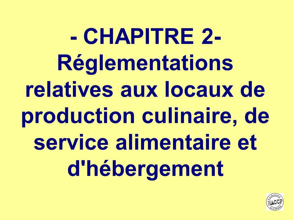 - CHAPITRE 2- Réglementations relatives aux locaux de production culinaire, de service alimentaire et d hébergement