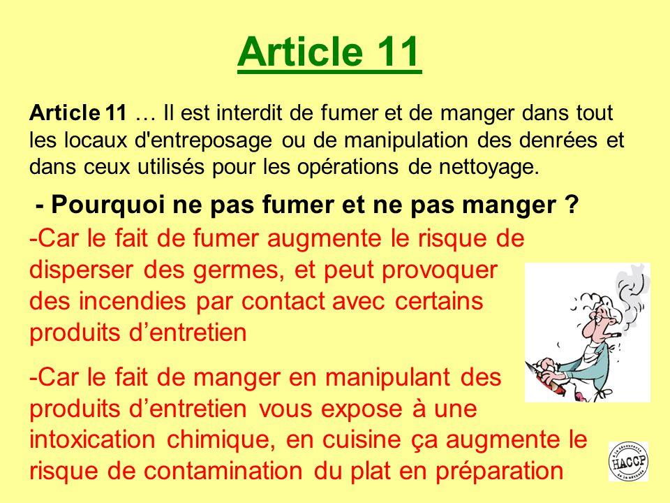 Article 11 - Pourquoi ne pas fumer et ne pas manger