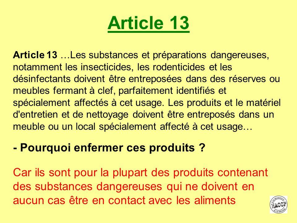Article 13 - Pourquoi enfermer ces produits