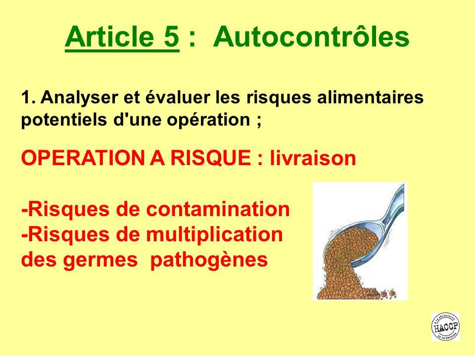 Article 5 : Autocontrôles