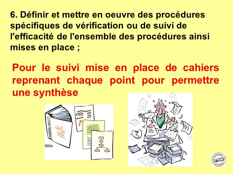 6. Définir et mettre en oeuvre des procédures spécifiques de vérification ou de suivi de l efficacité de l ensemble des procédures ainsi mises en place ;