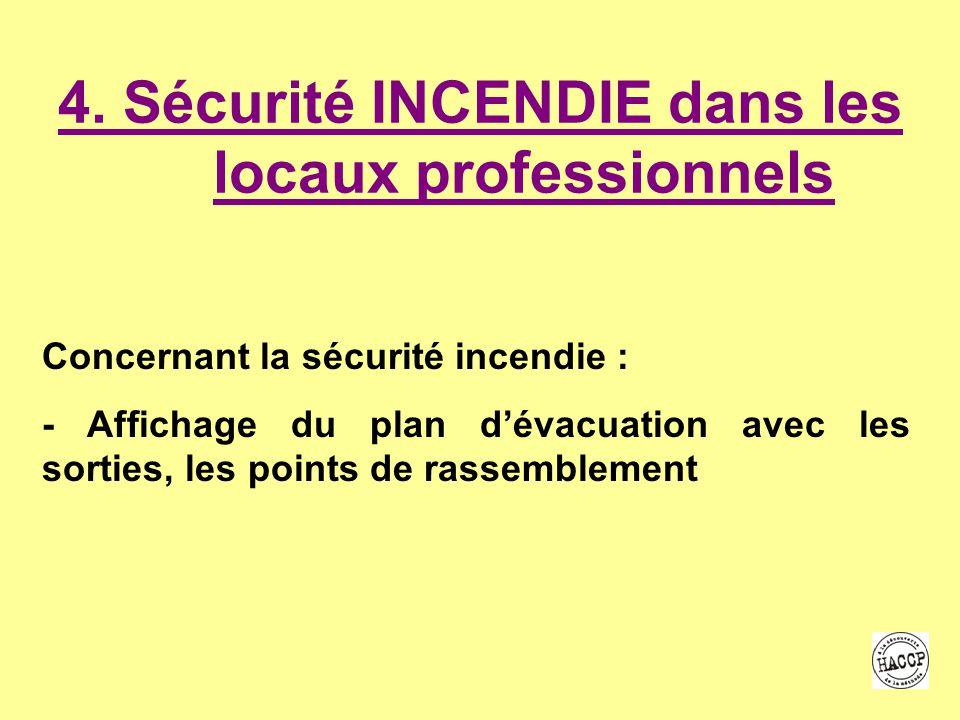 4. Sécurité INCENDIE dans les locaux professionnels