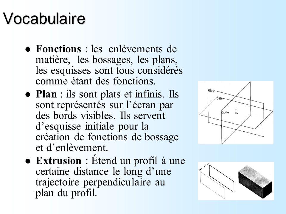 Vocabulaire Fonctions : les enlèvements de matière, les bossages, les plans, les esquisses sont tous considérés comme étant des fonctions.
