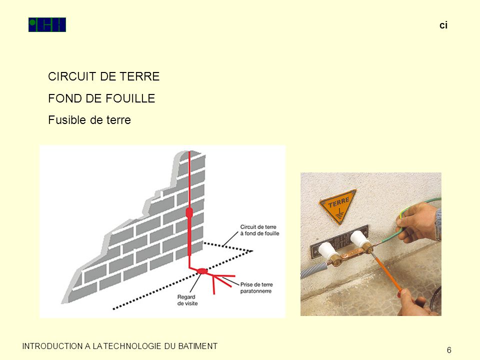 Introduction a la technologie du batiment ppt video for Prise de terre fond de fouille