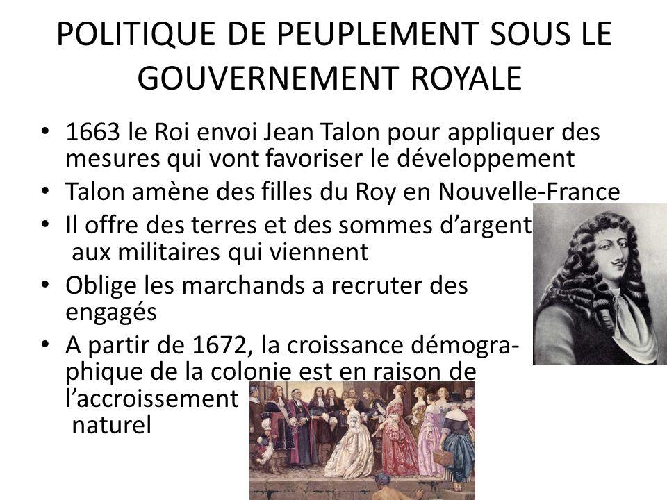 POLITIQUE DE PEUPLEMENT SOUS LE GOUVERNEMENT ROYALE