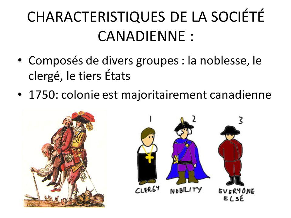 CHARACTERISTIQUES DE LA SOCIÉTÉ CANADIENNE :