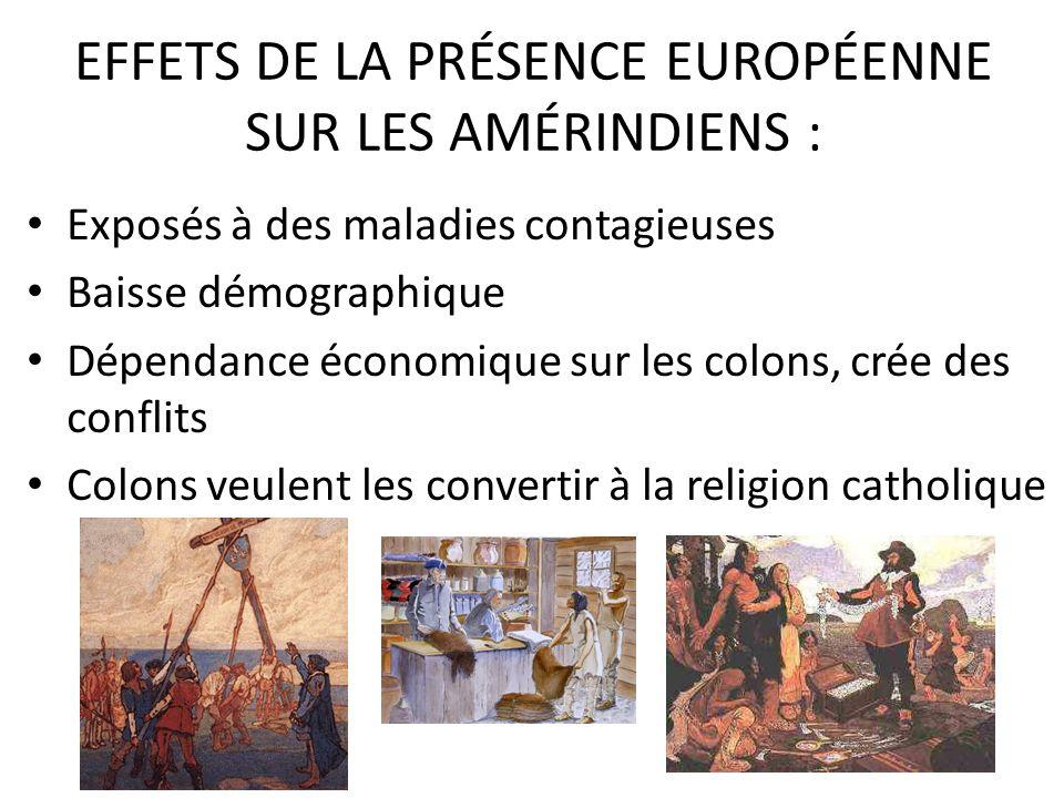 EFFETS DE LA PRÉSENCE EUROPÉENNE SUR LES AMÉRINDIENS :