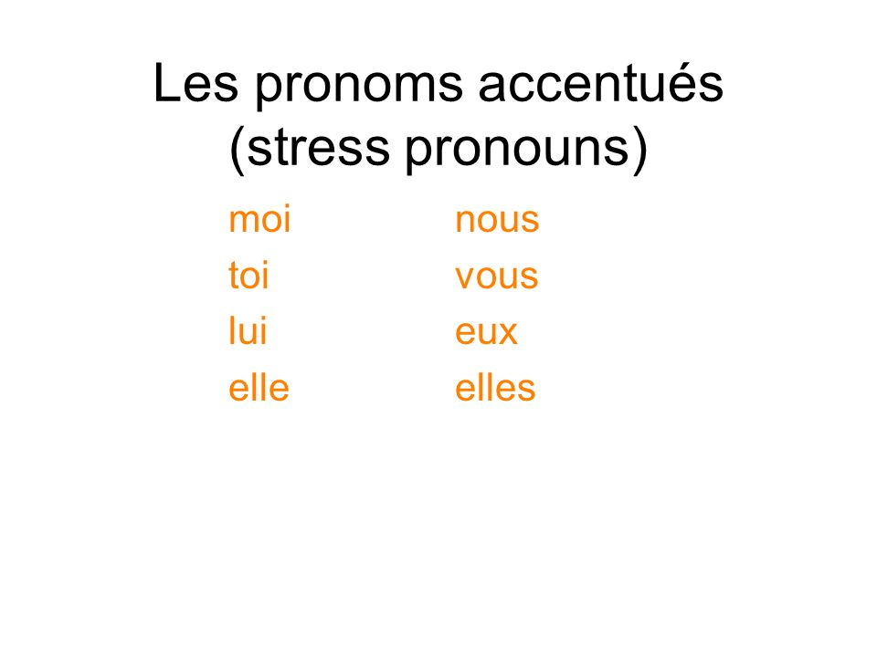 Les pronoms accentués (stress pronouns)