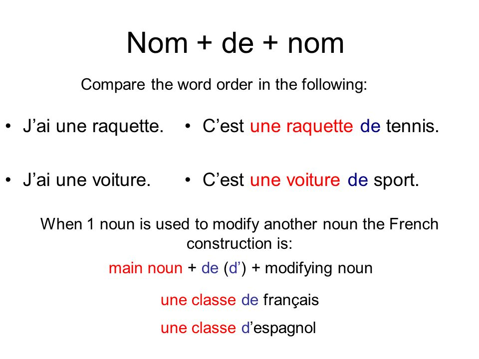 When 1 noun is used to modify another noun the French construction is: