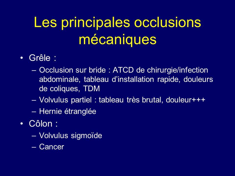 Les principales occlusions mécaniques