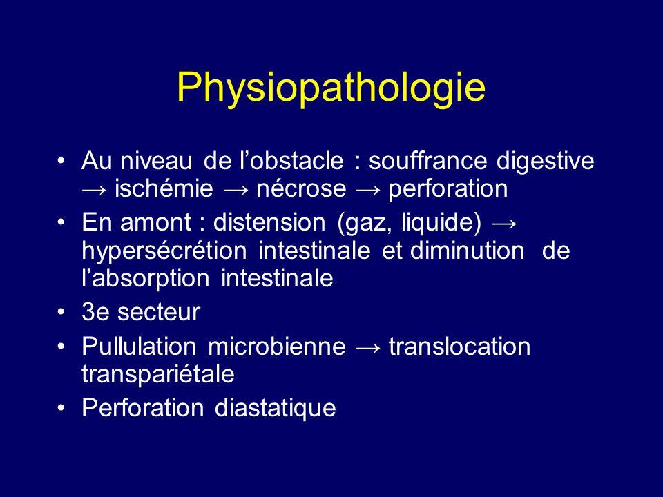 Physiopathologie Au niveau de l'obstacle : souffrance digestive → ischémie → nécrose → perforation.