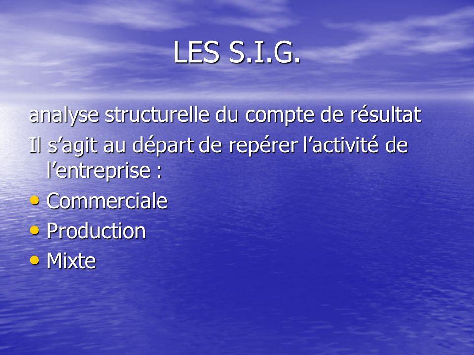 LES S.I.G. analyse structurelle du compte de résultat