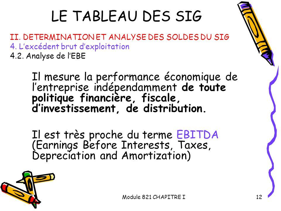 LE TABLEAU DES SIG II. DETERMINATION ET ANALYSE DES SOLDES DU SIG. 4. L'excédent brut d'exploitation.