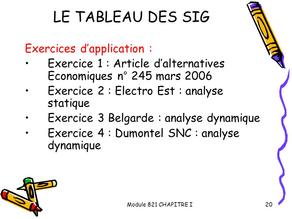 LE TABLEAU DES SIG Exercices d'application :