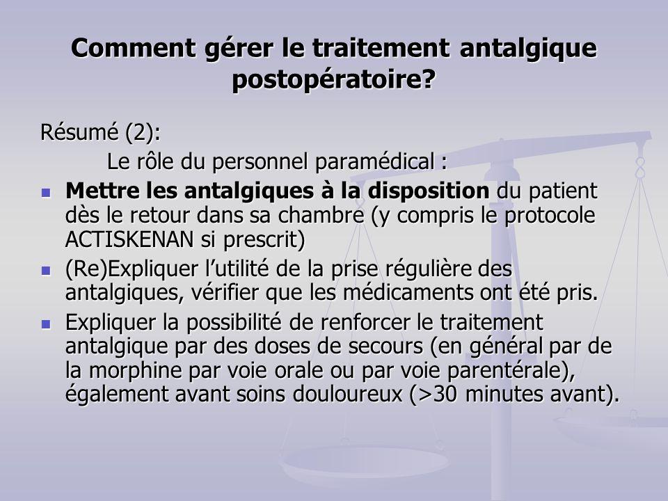 Comment g rer le traitement antalgique postop ratoire - La chambre des officiers resume par chapitre ...