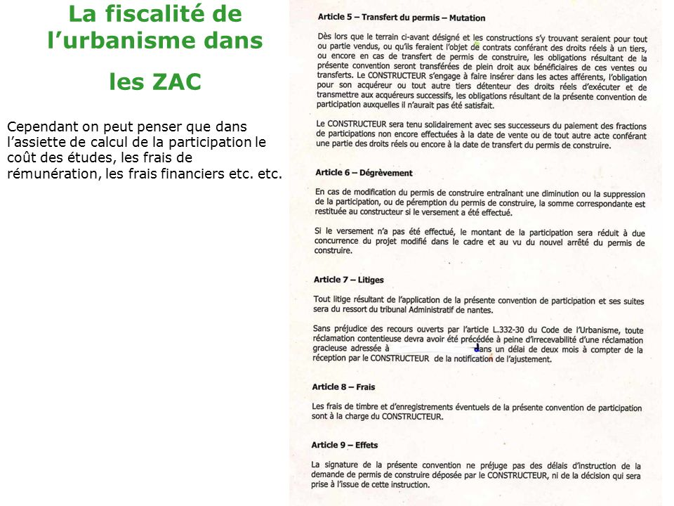 La fiscalit de l am nagement dans les zac ppt video for Cout permis a