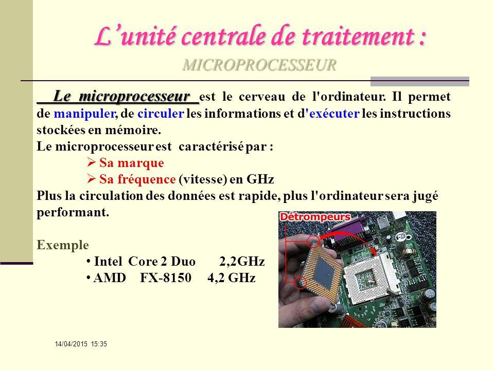L'unité centrale de traitement : MICROPROCESSEUR