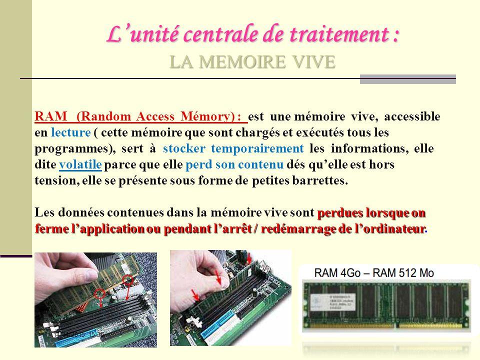 L'unité centrale de traitement : LA MEMOIRE VIVE