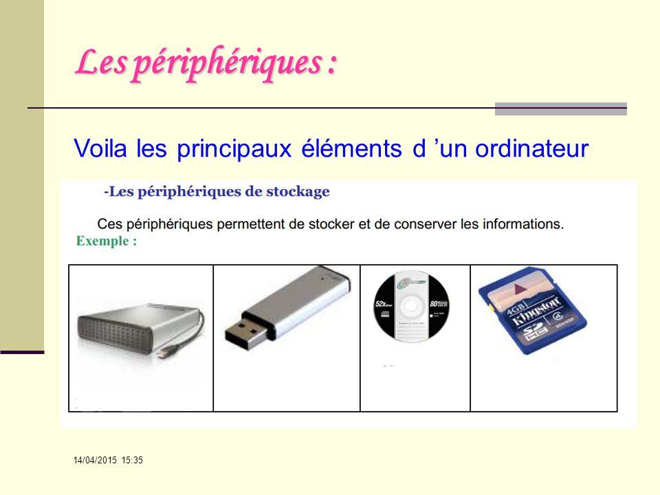 Les périphériques : Voila les principaux éléments d 'un ordinateur