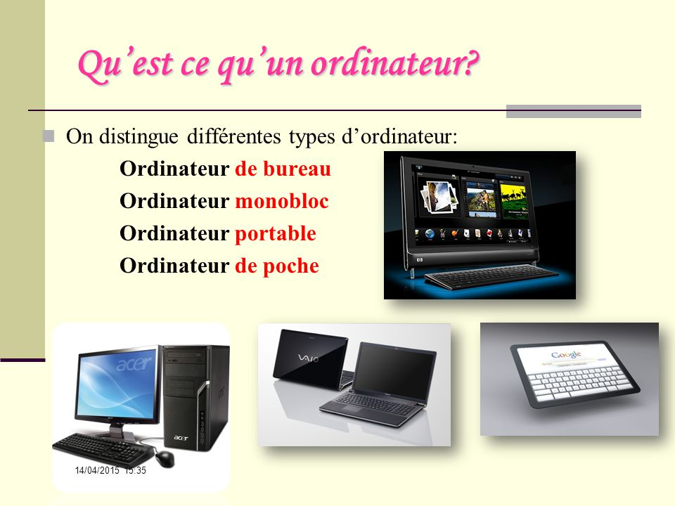 Structure de base d un ordinateur mati re informatique for Photo d ordinateur