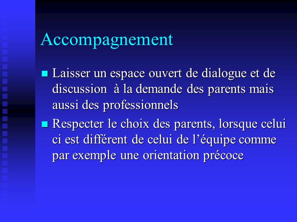 Accompagnement Laisser un espace ouvert de dialogue et de discussion à la demande des parents mais aussi des professionnels.