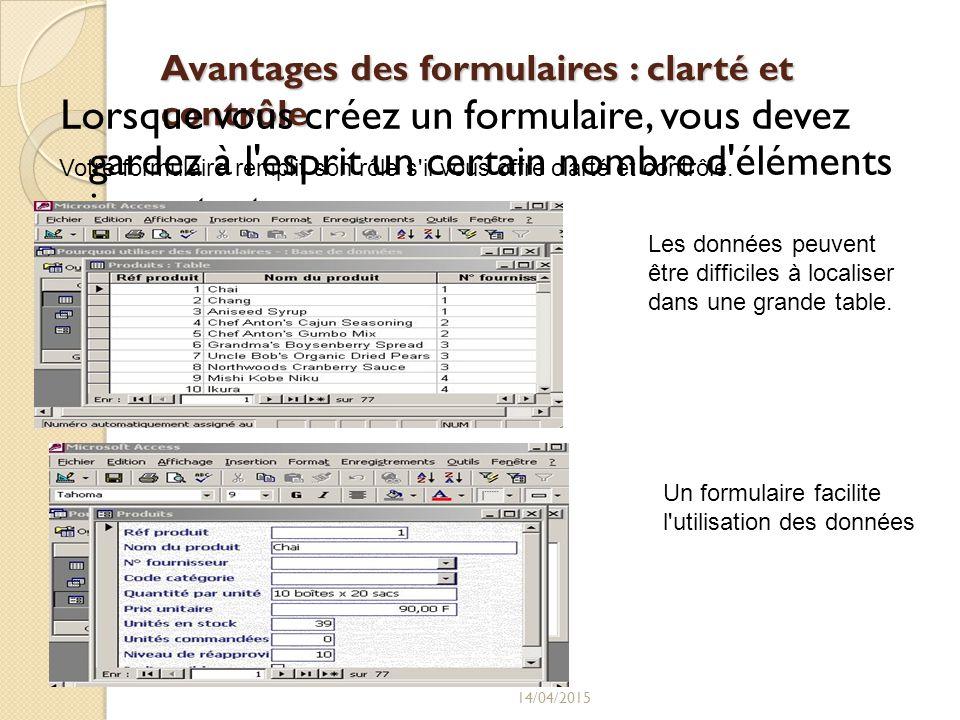 Avantages des formulaires : clarté et contrôle