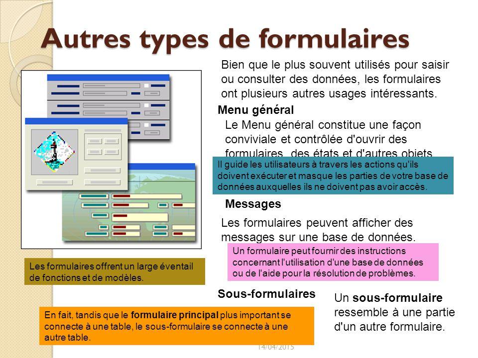 Autres types de formulaires