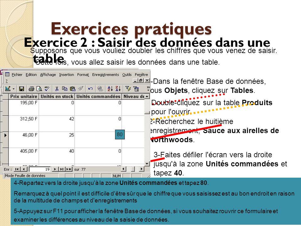 Exercices pratiques Exercice 2 : Saisir des données dans une table