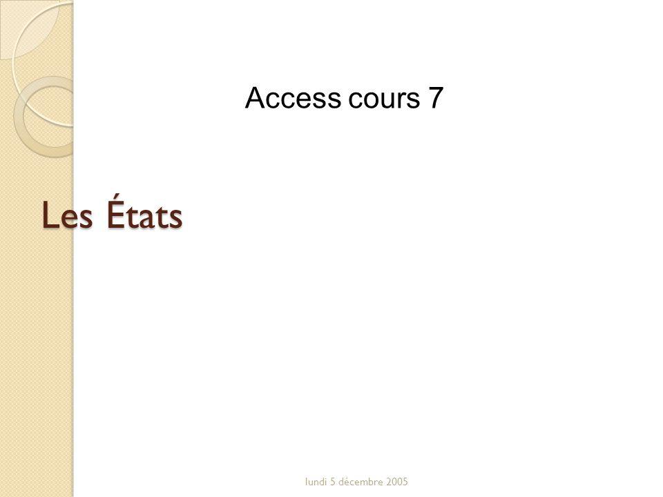 Access cours 7 Les États lundi 5 décembre 2005