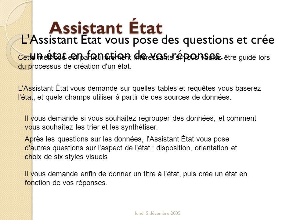 Assistant État L Assistant État vous pose des questions et crée un état en fonction de vos réponses.